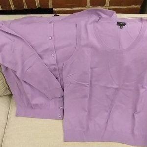 Talbots lilac twin-set 1x